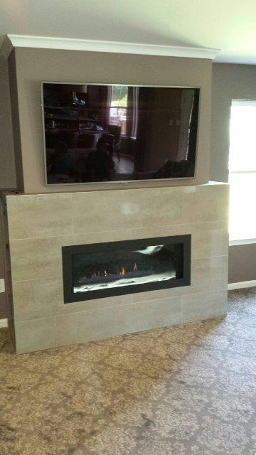 Lhd45 Linear Fireplace W Crystaline Ember Bed Custom Tiles