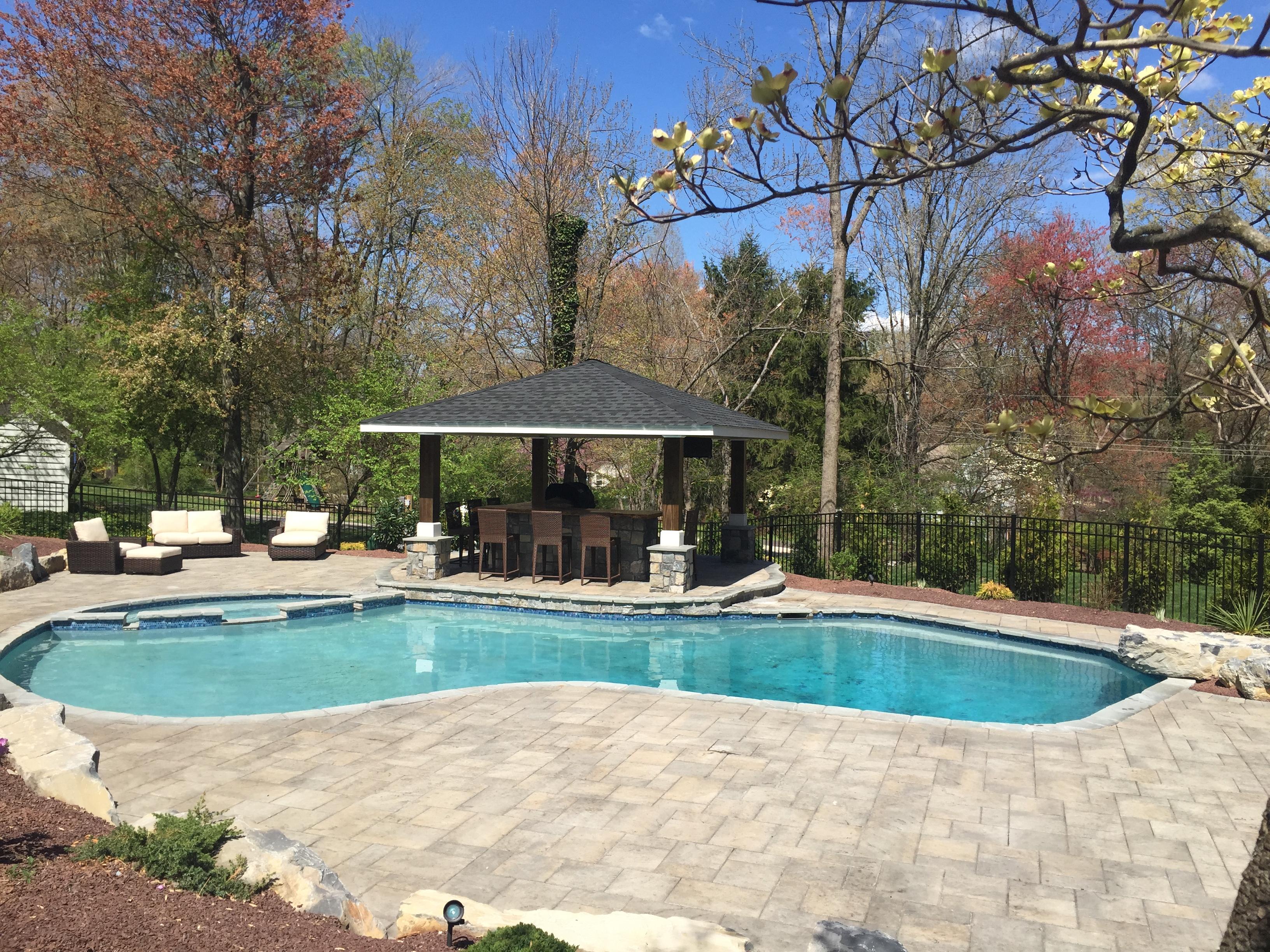Swimming Pool w/ Paver Pool Deck and Gazebo - Garden Patios ...