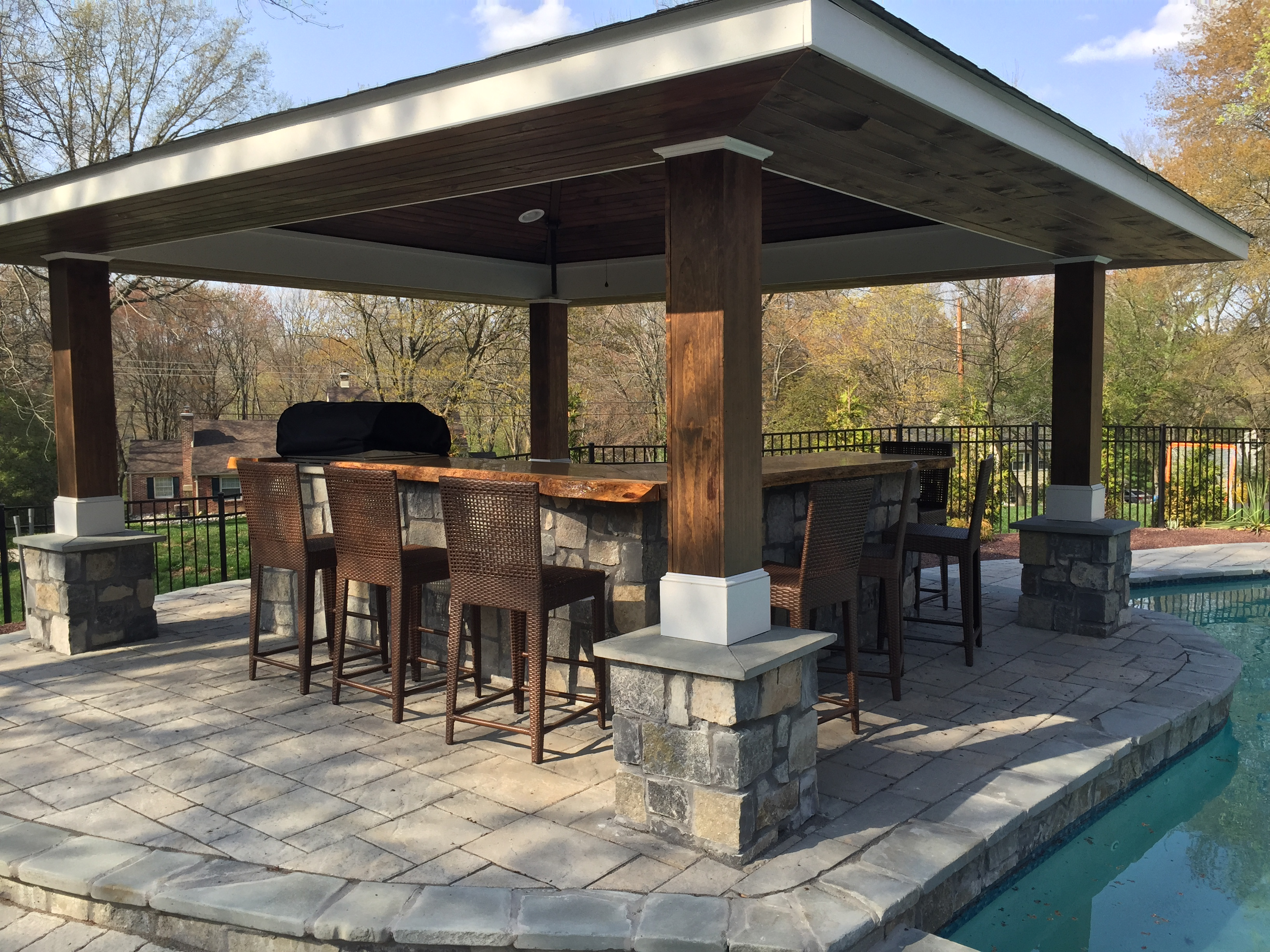 Outdoor Kitchen By The Pool Garden Patios Inc House Home