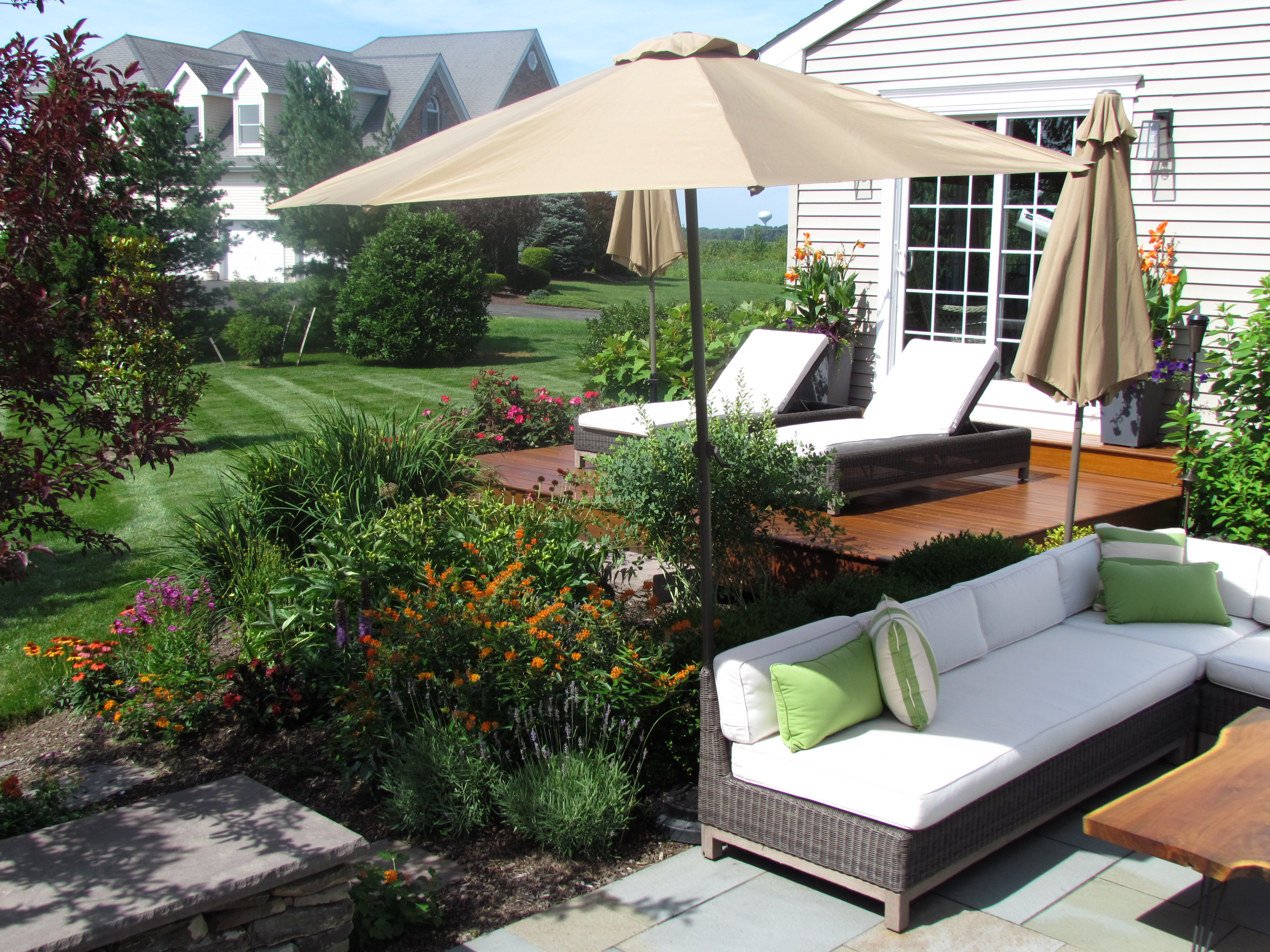 Contemporary Backyard Setting with Brazilian Wood Deck and Thermal Cut Bluestone Patio