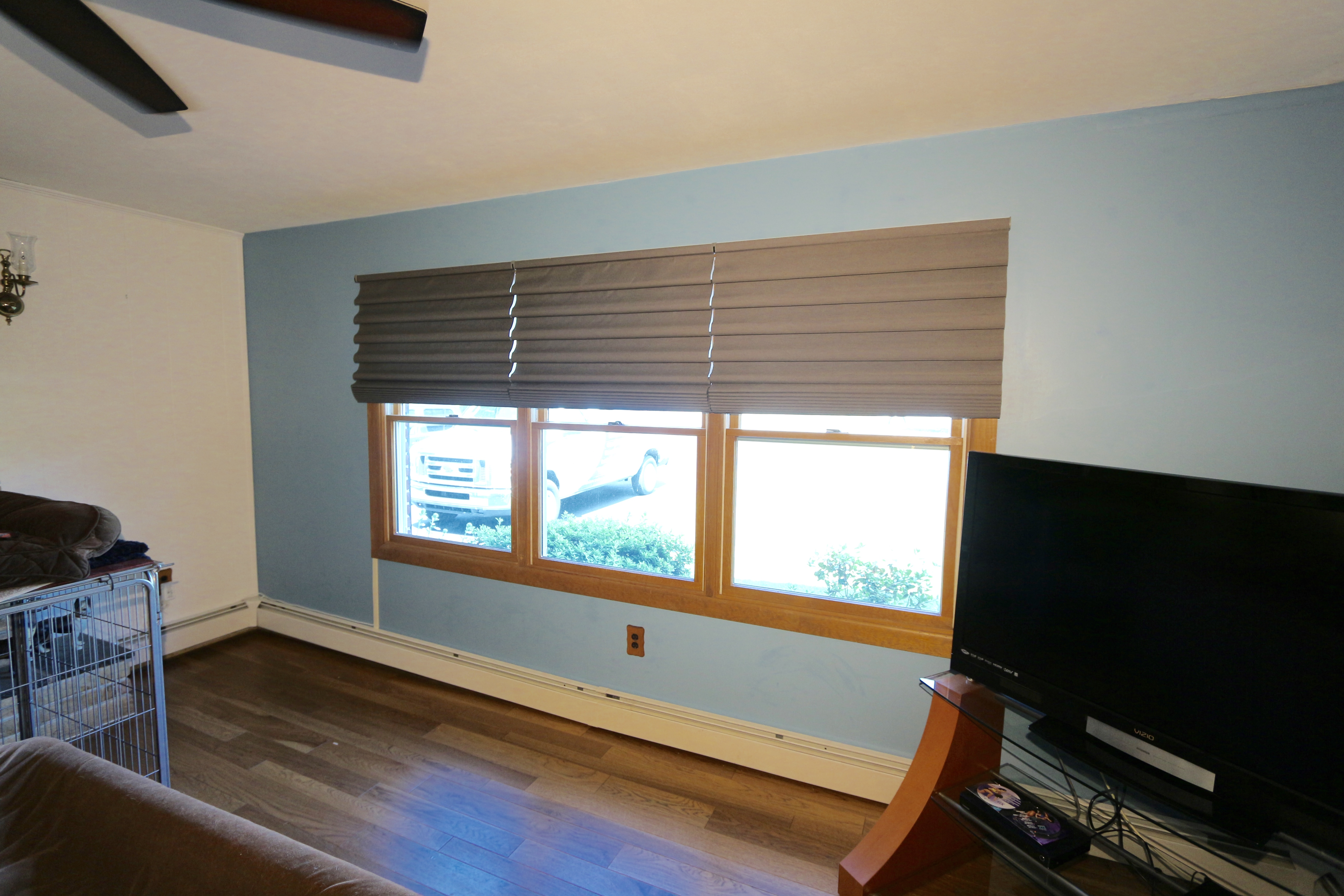 Vignette Shades; Plug in Motorization and Cordless