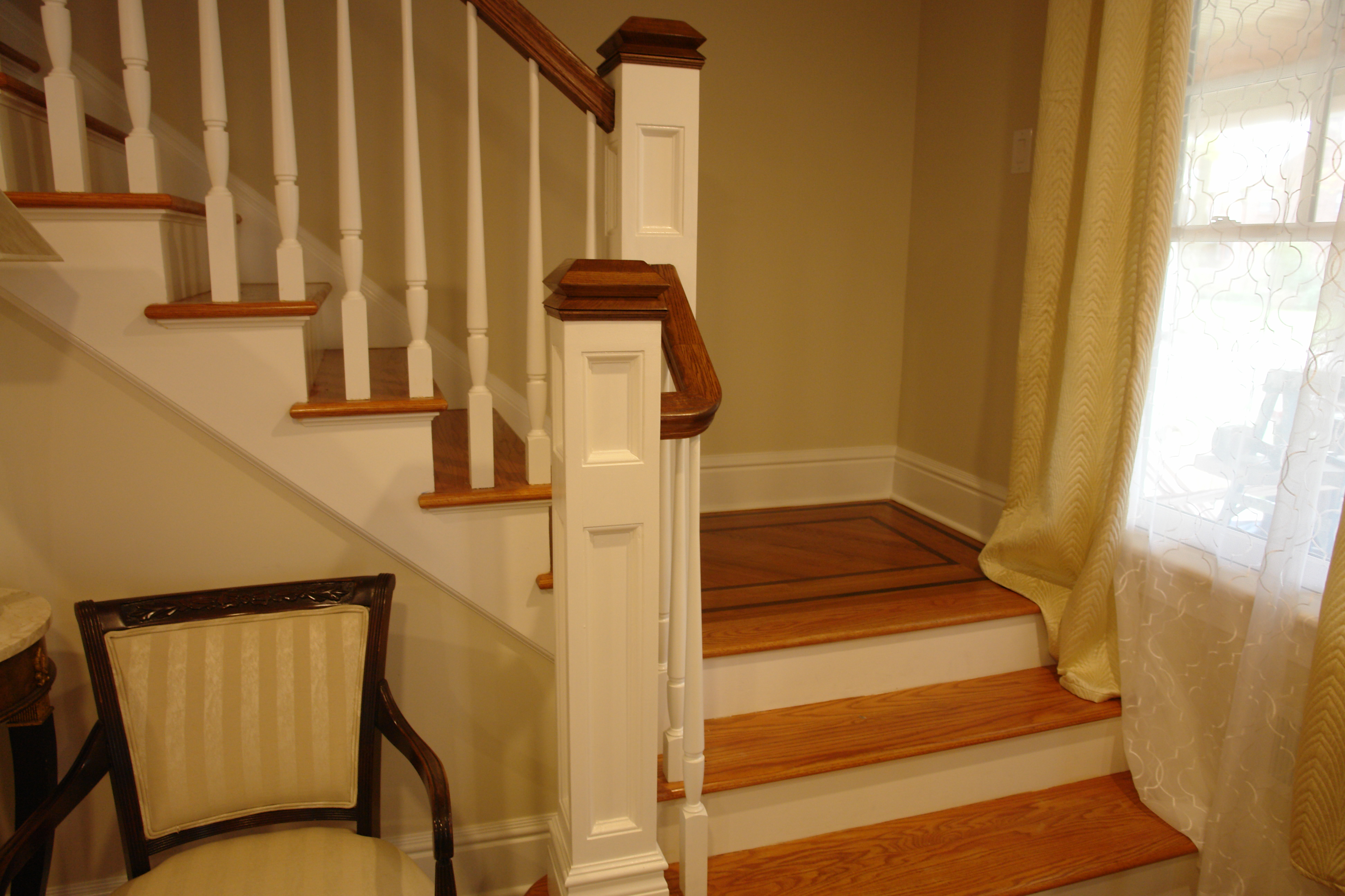 Wooden staircase and hand rails