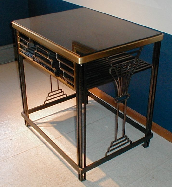 Lawler bronze iron table with granite top
