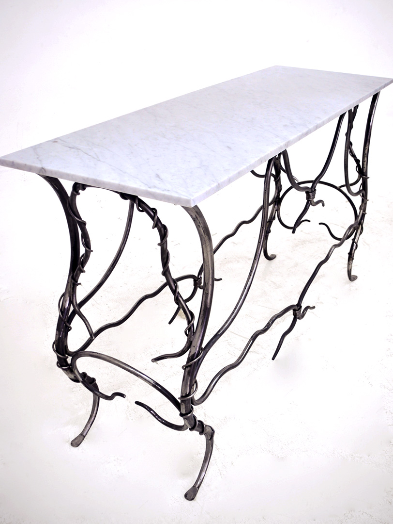 Hand Forged Iron Console With Marble Top.