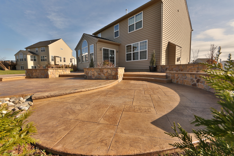 Multi Level Stamped Concrete Patio Finishing Edge Inc House