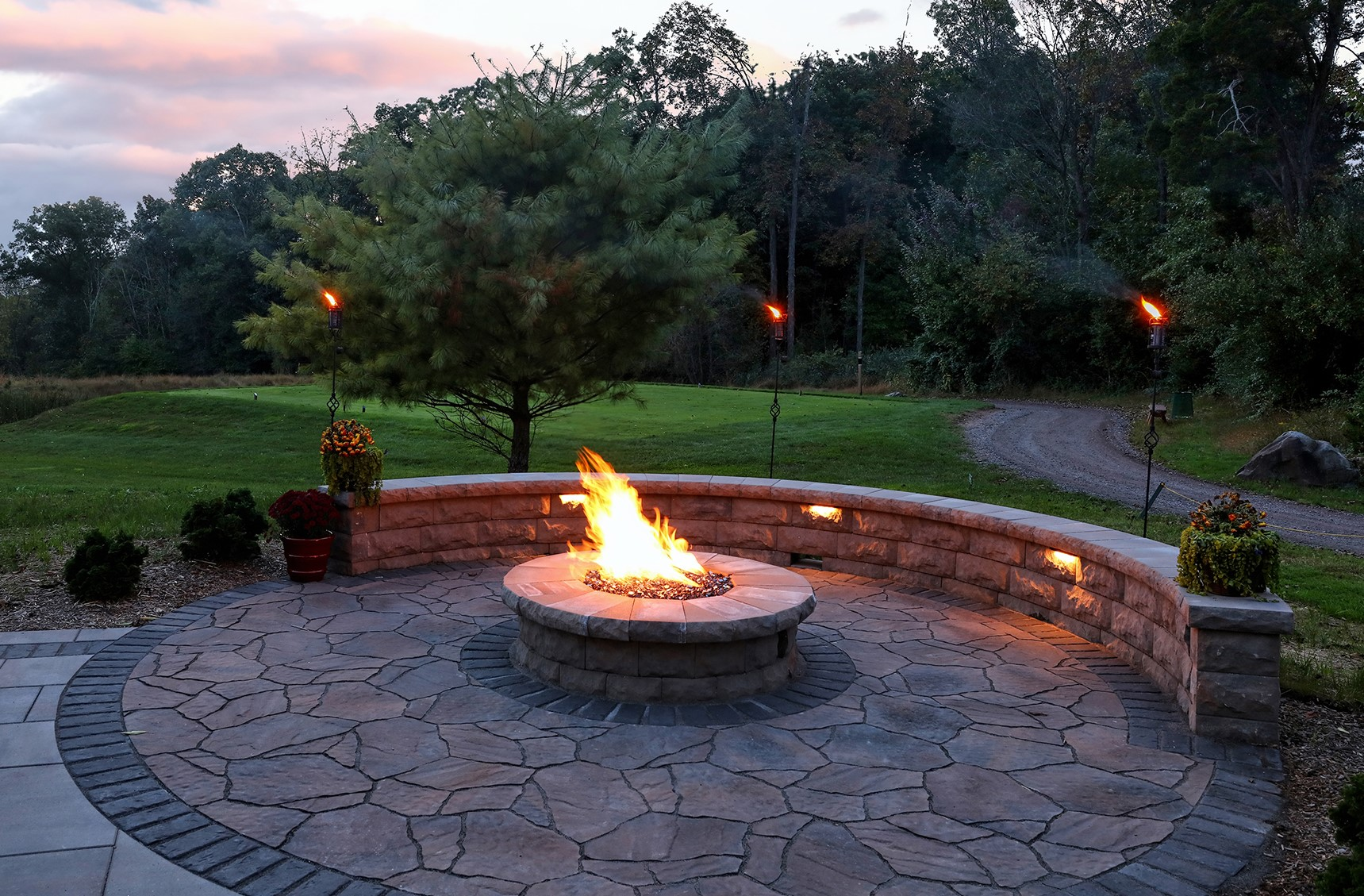 Firepit and Seating Wall